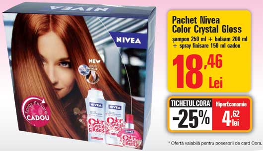 Pret sampon si balsam Nivea Color Crystal Gloss