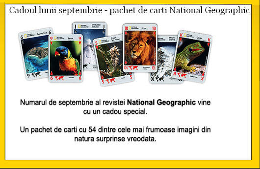 Joc de carti cadou oferit de revista National Geographic
