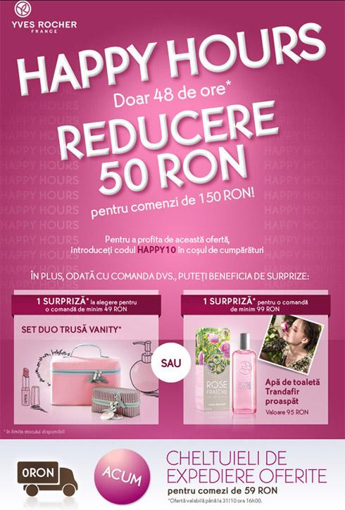 Yves Rocher - promotie HAPPY HOURS - 29-31 Octombrie 2012