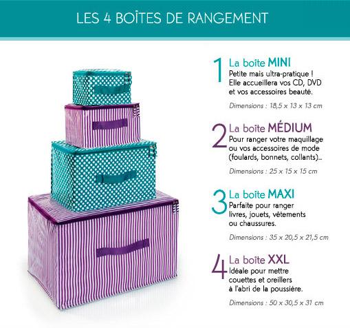 Set de cutii de depozitare si organizare cu buline si dungi mov si verde de la Yves Rocher