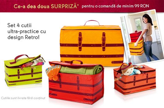 Set de cutii colorate pentru depozitare si organizare cu design retro de la Yves Rocher