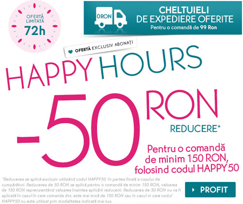 Happy Hours Yves Rocher - 50 lei reducere