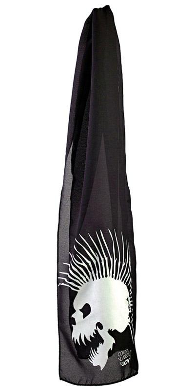 Esarfa neagra cu cap de mort creata pentru JOY de Corina Vladescu