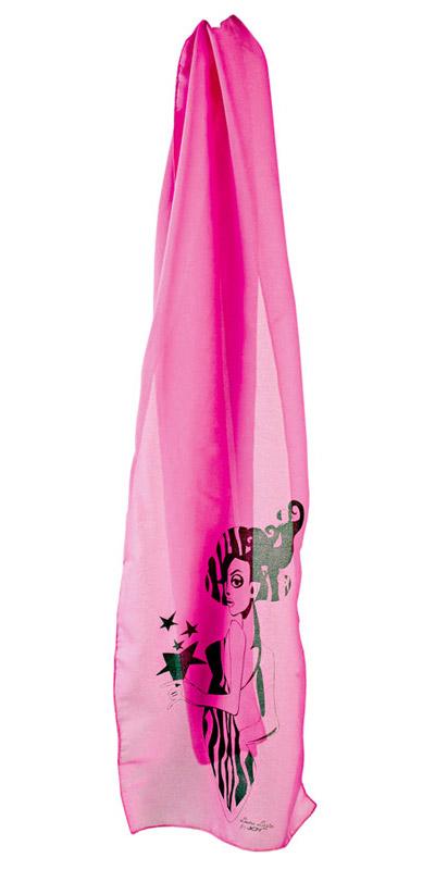 Esarfa roz cu o fata este creata pentru JOY de Laura Lazar