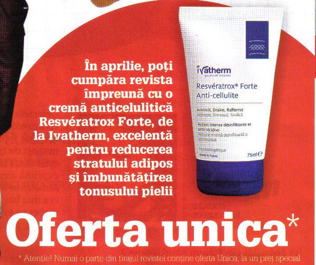 Promo cadou Unica de Aprilie 2011: Crema anticelulitica Resveratrox Forte Anti-cellulite de la Ivatherm (75 ml)