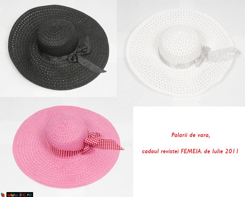 Palarii de vara, din rafie, cu panglica asorata cu buline ~~ cadoul revistei FEMEIA. de Iulie 2011
