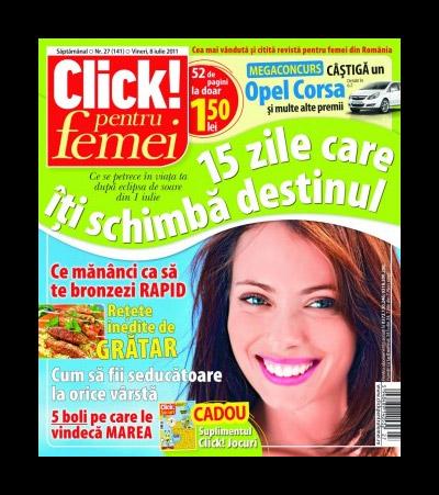 Click! pentru femei ~~ Retete inedite pentru gratar ~~ Cadou: suplimentul Click! Jocuri ~~ 8 Iulie 2011