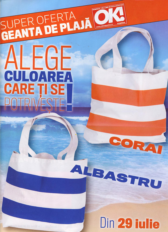 Promo geanta de plaja alba cu dungi corai sau albastre ce va fi cadou impreuna cu OK! Magazine din 29 Iulie 2011