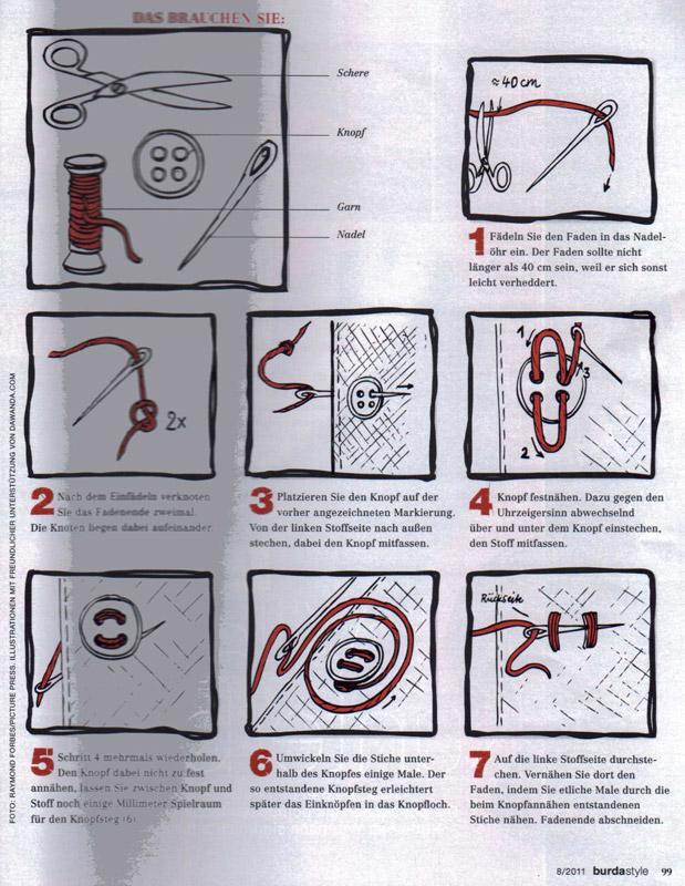 Cum se coase corect un nasture ~~ pagina din Burda Style ~~ August 2011