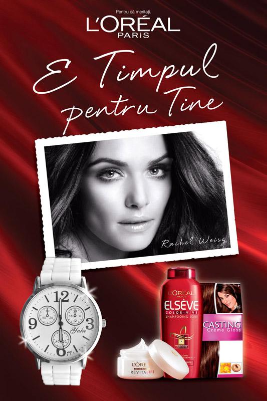 Promotia L´Oréal Paris E TIMPUL PENTRU TINE: Cumpara din orice hypermarket Carrefour produse L´Oréal Paris in valoare de minim 40 RON si primesti un ceas cadou.Promotie valabila in perioada 04-10 august 2011, in limita stocului disponibil.
