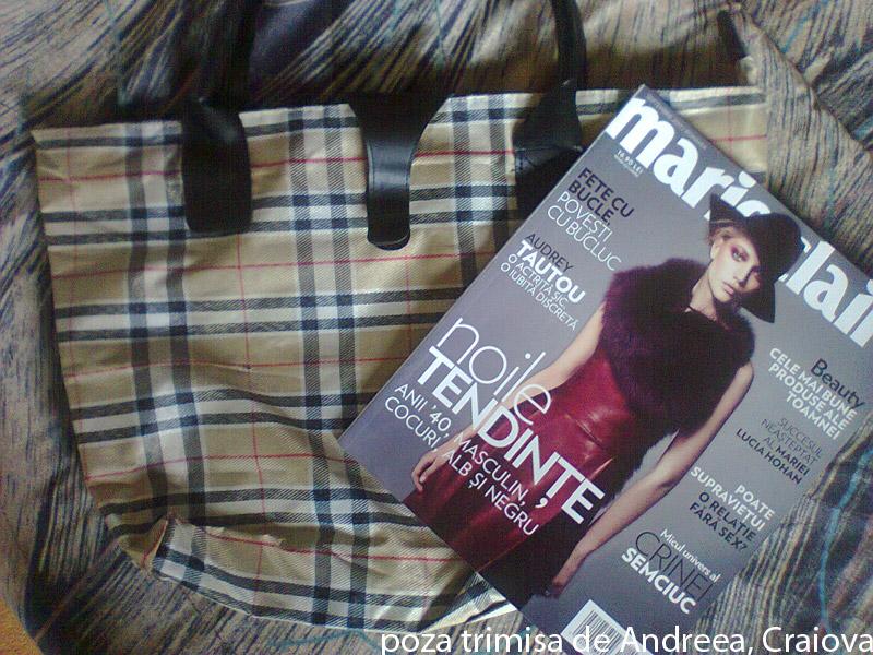 Marie Claire ~~ Cadou: geanta in carouri british crem ~~ Septembrie 2011