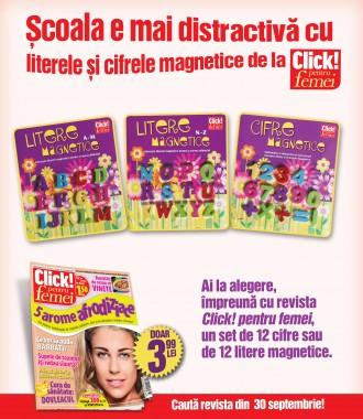 Promo SETURI DE LITERE SI CIFRE MAGNETICE ~~ impreuna cu Click! pentru femei din 30 Septembrie 2011