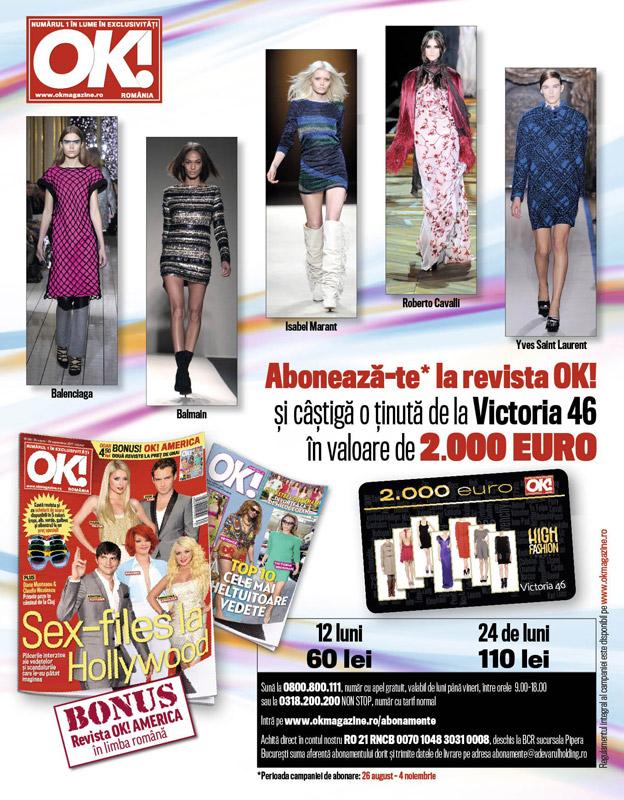 Oferta de abonament pentru revista OK! Magazine Romania ~~ valabila in perioada 26 august 4 noiembrie 2011