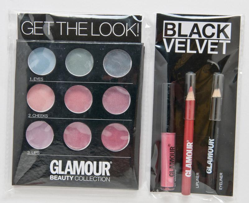 Glamour Beauty Collection ~~ Detalii pentru varianta BLACK VELVET ~~ Kit-ul conţine un lipgloss, un eyeliner, un lipliner, trei farduri de pleoape, trei blush-uri şi trei lipglossuri ~~ Octombrie 2011