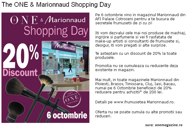 The One si Marionnaud Shopping Day ~~ AFI Palace Cotroceni, Bucuresti ~~ 6 Octombrie 2011