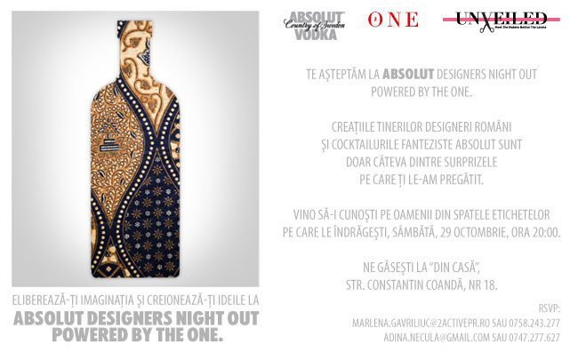 Eveniment The One Magazine ~~ Absolut Designers Night Out ~~ Bucuresti, 29 Octombrie 2011