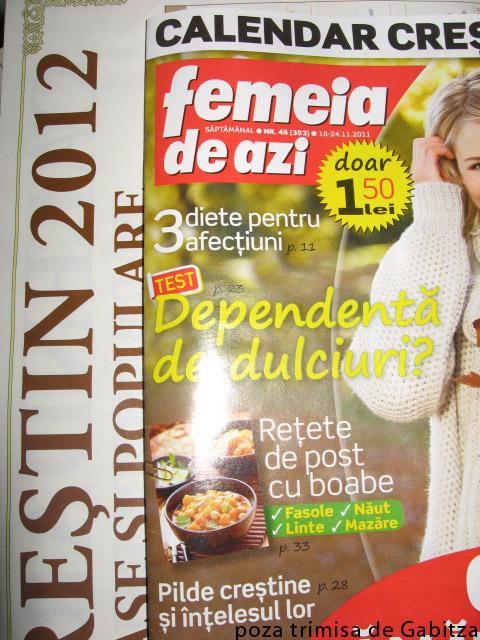 Femeia de azi si calendarul crestin pentru 2012 ~~ 18 Noiembrie 2011