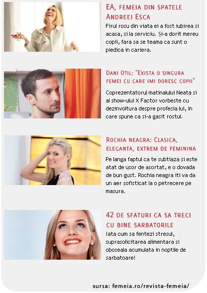 Din cuprinsul revistei FEMEIA., editia Decembrie 2011