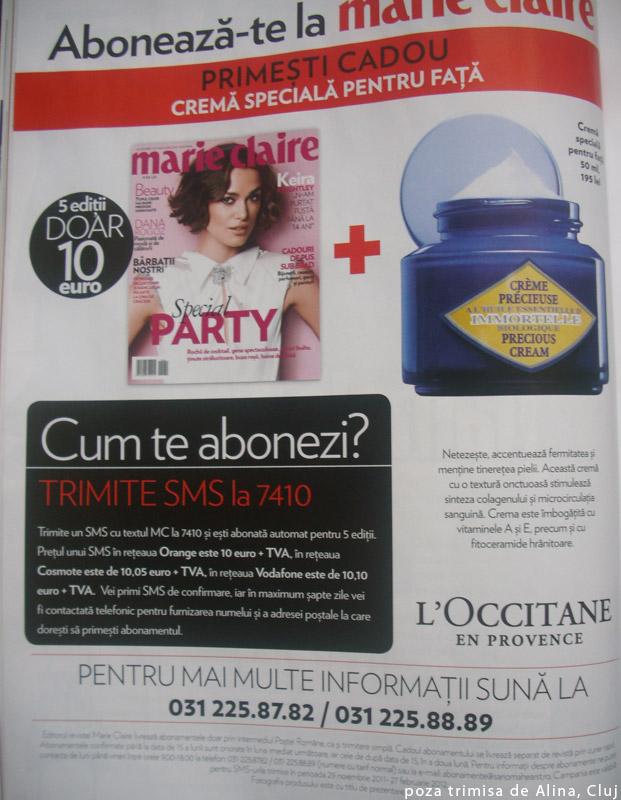 Marie Claire Romania ~~ Oferta de abonament pentru 5 editii ~~ Decembrie 2011 - Ianuarie 2012