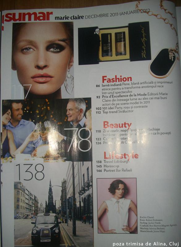 Marie Claire Romania ~~ A doua pagina a sumarului ~~ Decembrie 2011 - Ianuarie 2012