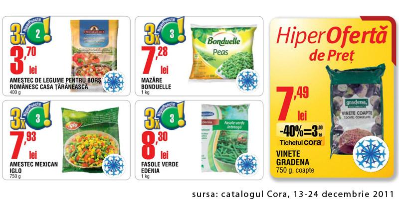 Oferte de legume congelate pentru mancarea de post ~~ catalogul Cora valabil in perioada 13-24 decembrie 2011