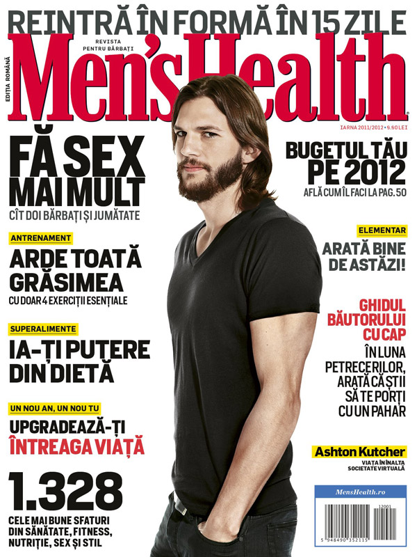 Men\'s Health Romania ~~ Cover man: Ashton Kutcher ~~ Decembrie 2011 - Februarie 2012 ~~ Pret: 9,90 lei