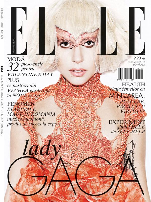 ELLE Romania ~~ Cover girl: Lady Gaga ~~ Februarie 2012