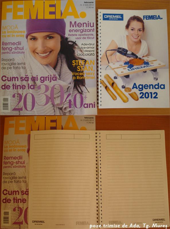 Detalii agenda 2012 FEMEIA. & Dremel ~~ impreuna cu FEMEIA. editia Februarie 2012 ~~ Pret: 11,90 lei