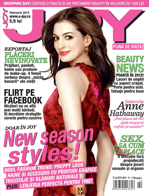 JOY Romania ~~ Cover girl: Anne Hathaway ~~ Februarie 2012