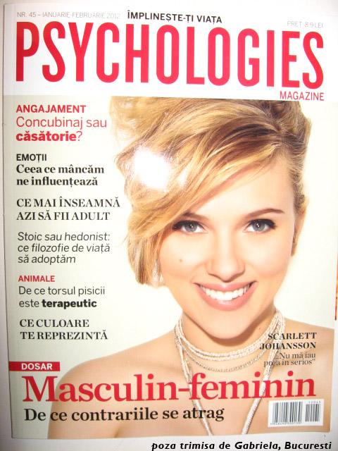 Psychologies Romania ~~ Cover girl: Scarlett Johansson ~~ Ianuarie-Februarie 2012