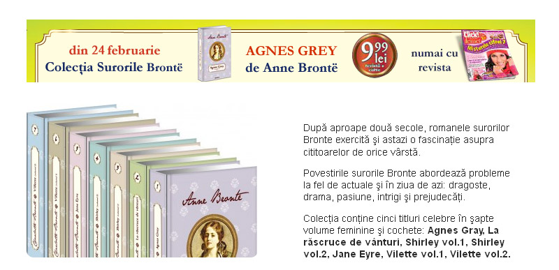 Promo colectia de carti scrise de surorile Bronte, impreuna cu Click! pentru femei din 24 Feb. 2012 ~~ Pret: 10 lei