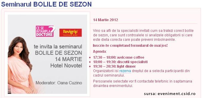 Seminarul BOLILE DE SEZON, organizat de Club CSID si Revigrip ~~ 14 Martie 2012