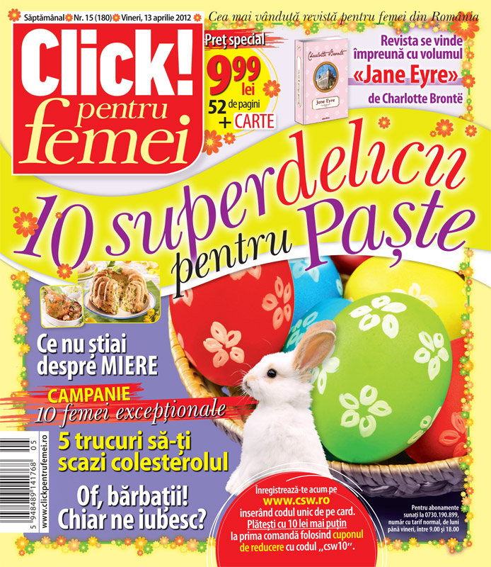 Click! pentru femei impreuna cu romanul JANE EYRE, de Charlotte Bronte ~~ 13 Apr 2012 ~~ Pret: 10 lei