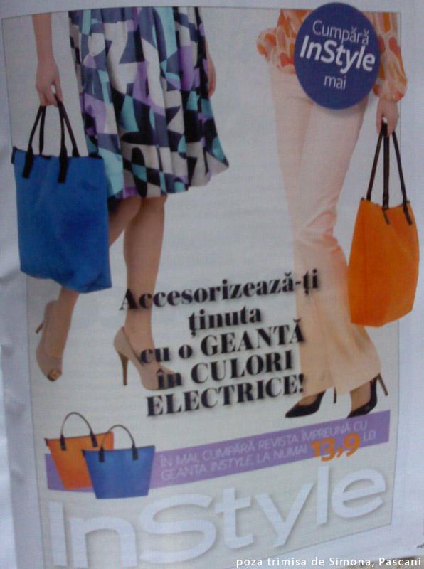 Promo pentru cadoul editiei de Mai e revisei InStyle: o geanta albastra sau portocalie ~~ Pret: 13,90 lei