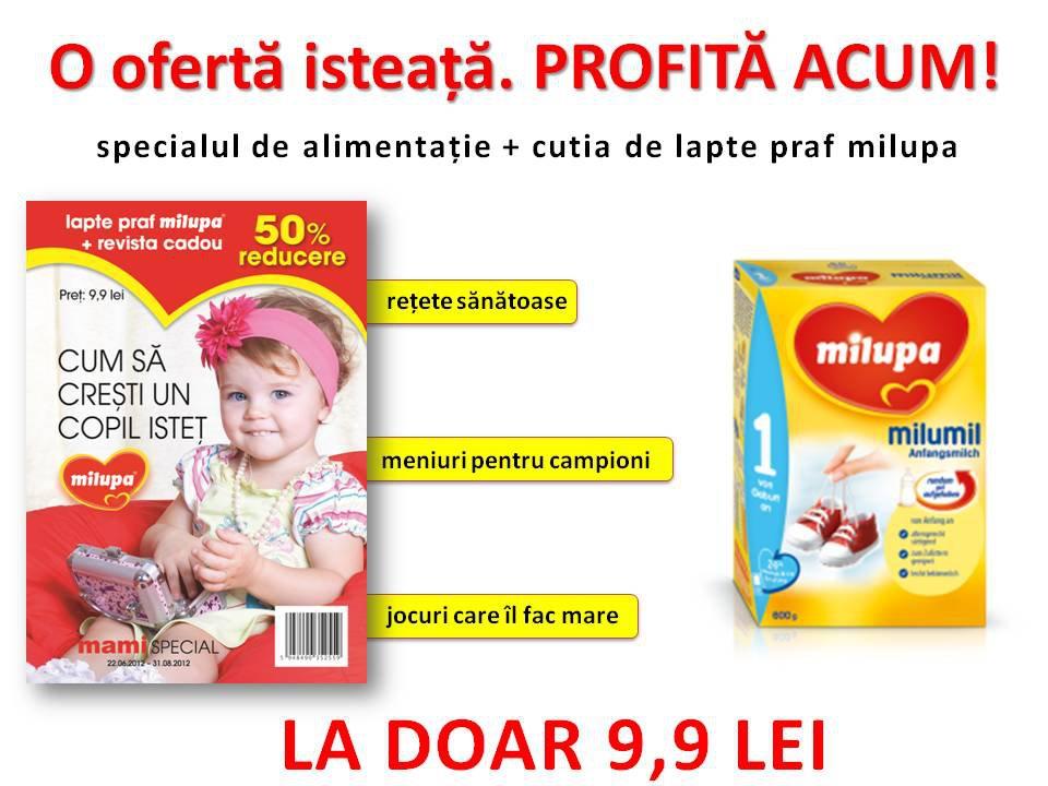 Mami Special Alimentatie ~~ Revista + cutie de lapte praf Milupa de la 1 an (300 g) = 9,90 lei ~~ 22 Iun - 31 Aug 2012