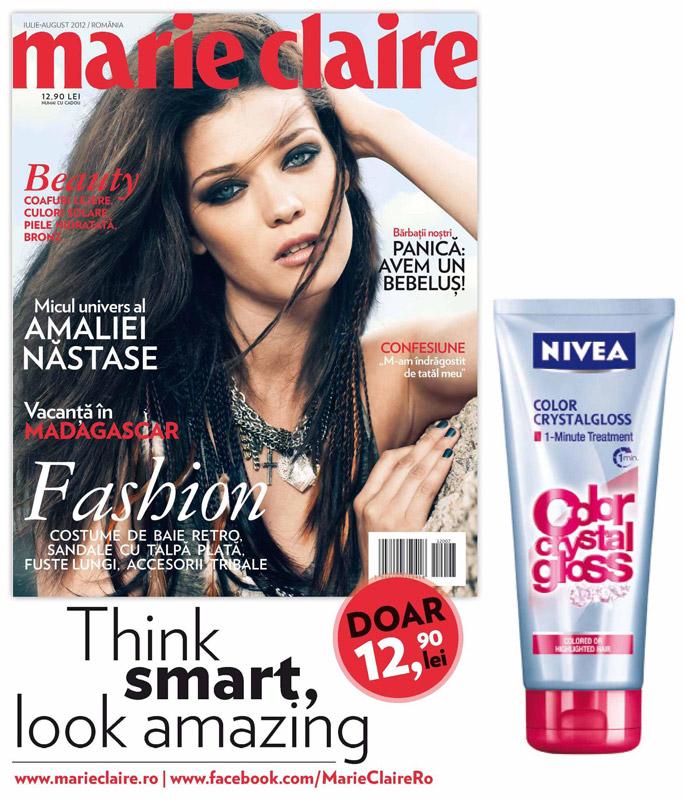 Promo Marie Claire Romania si Tratamentul pentru par 1 minute Color Crystal Gloss de la Nivea oferit cadou ~~ Iulie-August 2012