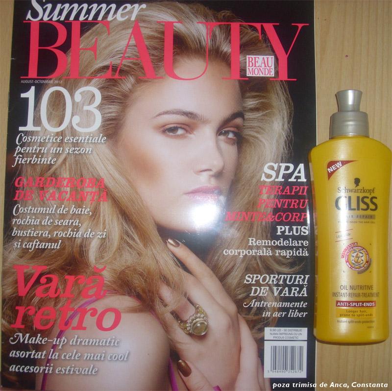 Summer Beauty by Beau Monde Style si cadoul tratament pentru par Schwarzkopf Gliss Hair Repair ~~ August-Octombrie 2012 ~~ Pret revista+cadou: 9,90 lei
