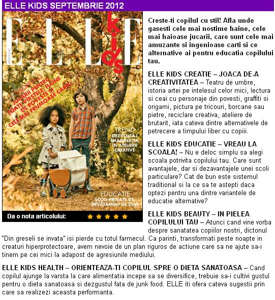 Promo ELLE KIDS editia Septembrie 2012