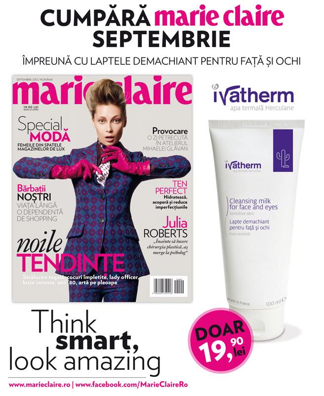 Promo Marie Claire Romania ~~ Cadou: Lapte demachiant pentru fata si ochi Ivatherm ~~ Septembrie 2012