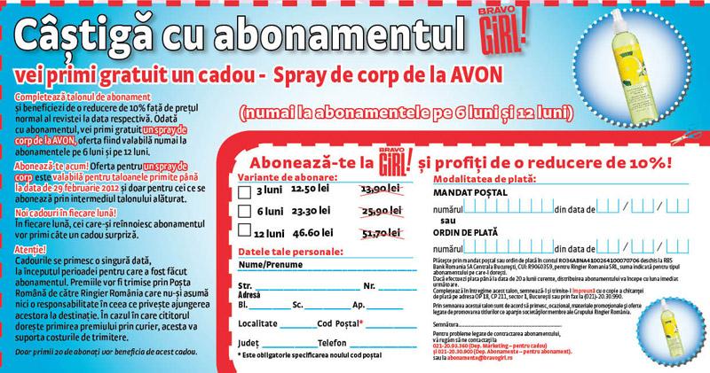 Oferta de abonament prin talon + cadou pentru revista BRAVO GIRL, valabila in Februarie 2012