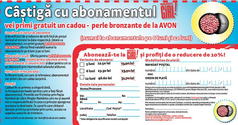 Oferta de abonament prin talon + cadou pentru revista BRAVO GIRL, valabila in Ianuarie 2012