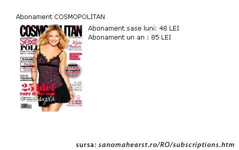 Oferta de abonament pentru revista Cosmopolitan