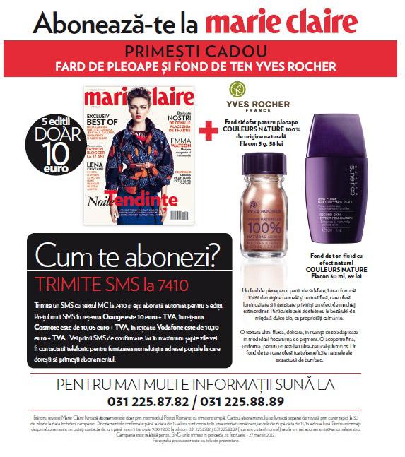 Oferta de abonament + cadou prin SMS la revista Marie Claire valabila pana in 27  Martie 2012