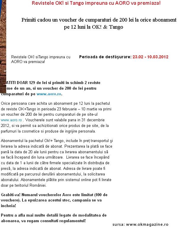 Oferta de abonament OK! Magazine si Tango ~~ 23 Feb - 10 Mar 2012