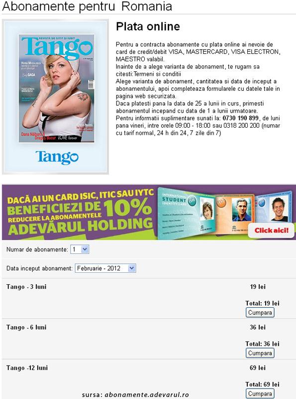Oferta de abonament pentru revista Tango