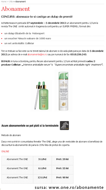 Oferta de abonament la revista THE ONE + cadou 2 produse anticelulitice Collistar ~~ 27 Septembrie - 5 Decembrie 2012