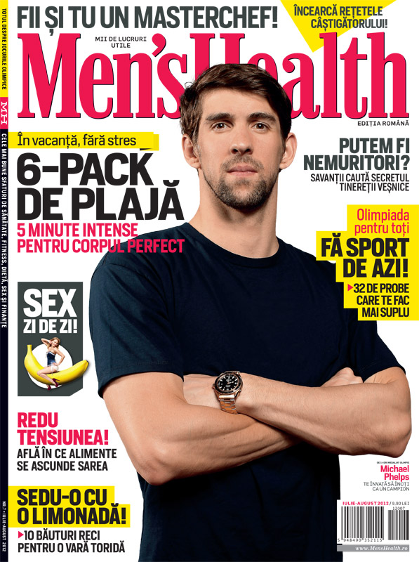 Men\'s Health Romania ~~ Cover man: Michael Phelps ~~ Iulie - August 2012
