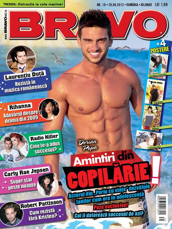 Bravo ~~ Coperta: Dorian Popa ~~ Cadou: cartea JURNALELE VAMPIRILOR. JURNALELE LUI STEFAN. CONSTRANGEREA ~~ 28 August 2012 (nr. 18) ~~ Pret revista+carte: 11 lei