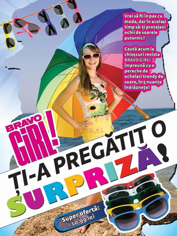 Promo OCHELARI DE SOARE CU RAME COLORATE ~~ impreuna cu Bravo Girl! din 7 August 2012 ~~ Pret revista+cadou: 11 lei