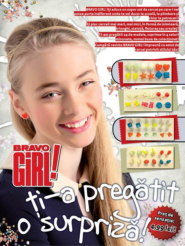 Promo Seturi de cercei, diverse modele, impreuna cu revista Bravo Girl din 17 Aprilie 2012 ~~ Pret: 5 lei